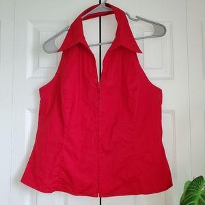 Zipper Front Collared Red Halter Top